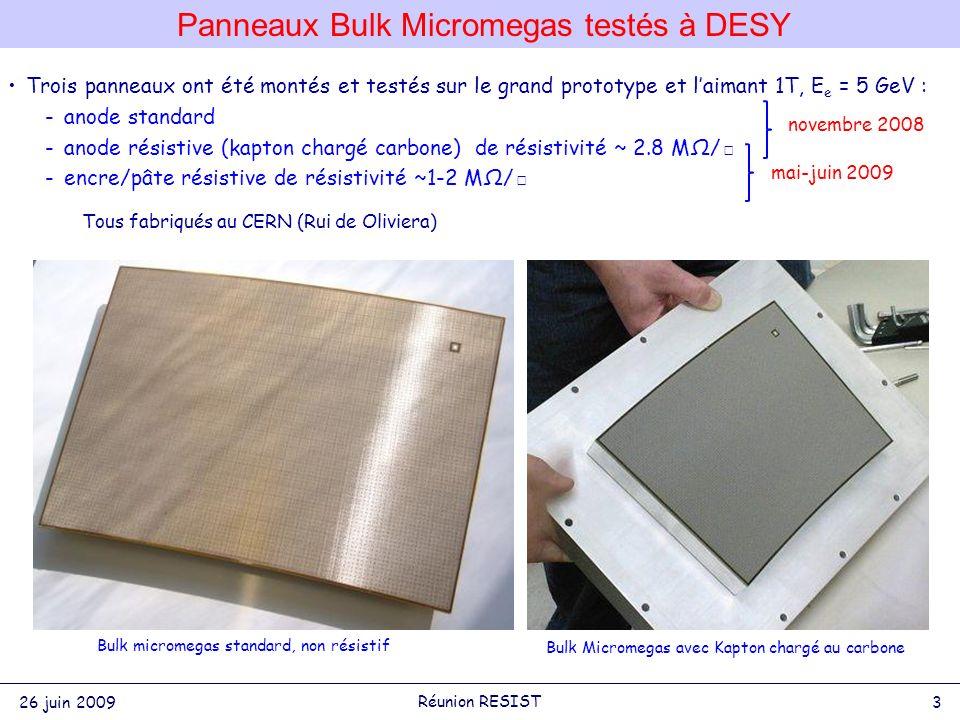 Trois panneaux ont été montés et testés sur le grand prototype et laimant 1T, E e = 5 GeV : -anode standard -anode résistive (kapton chargé carbone) de résistivité ~ 2.8 MΩ/ -encre/pâte résistive de résistivité ~1-2 MΩ/ Tous fabriqués au CERN (Rui de Oliviera) Panneaux Bulk Micromegas testés à DESY Bulk micromegas standard, non résistif Bulk Micromegas avec Kapton chargé au carbone mai-juin 2009 novembre 2008 26 juin 2009 3 Réunion RESIST