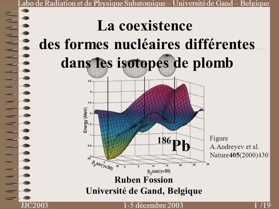 Labo de Radiation et de Physique Subatomique – Université de Gand – Belgique JJC2003 1-5 décembre 2003 /19 La coexistence des formes nucléaires différ