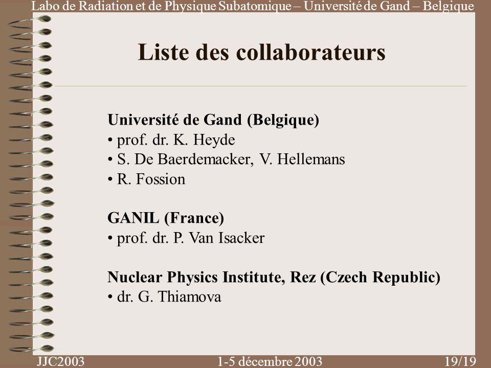 Labo de Radiation et de Physique Subatomique – Université de Gand – Belgique JJC2003 1-5 décembre 2003 /19 Liste des collaborateurs Université de Gand