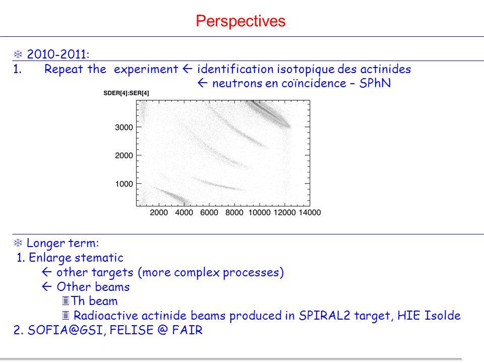 Perspectives 2010-2011: 1. Repeat the experiment identification isotopique des actinides neutrons en coïncidence – SPhN Longer term: 1. Enlarge stemat