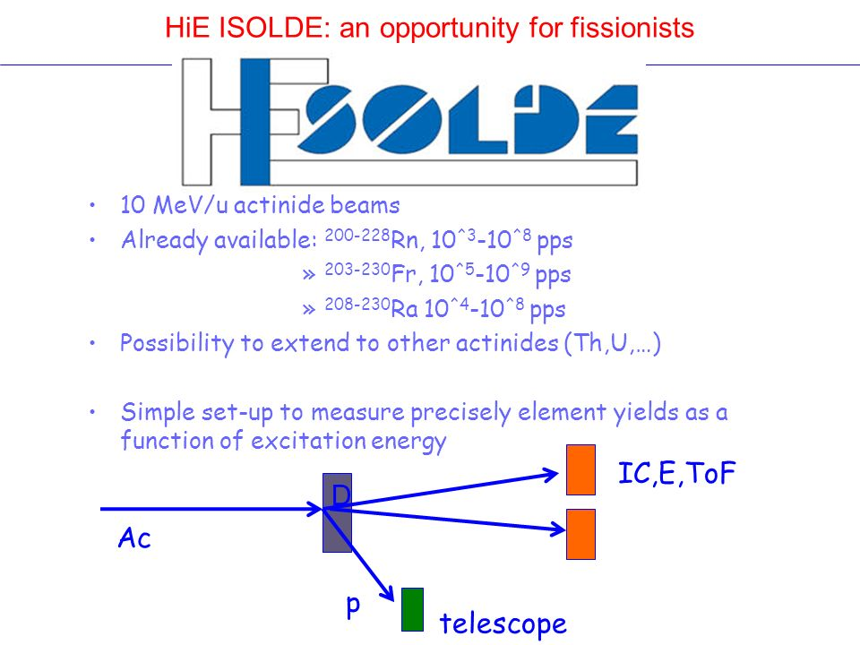 HiE ISOLDE: an opportunity for fissionists 10 MeV/u actinide beams Already available: 200-228 Rn, 10 ^3 -10 ^8 pps » 203-230 Fr, 10 ^5 -10 ^9 pps » 20