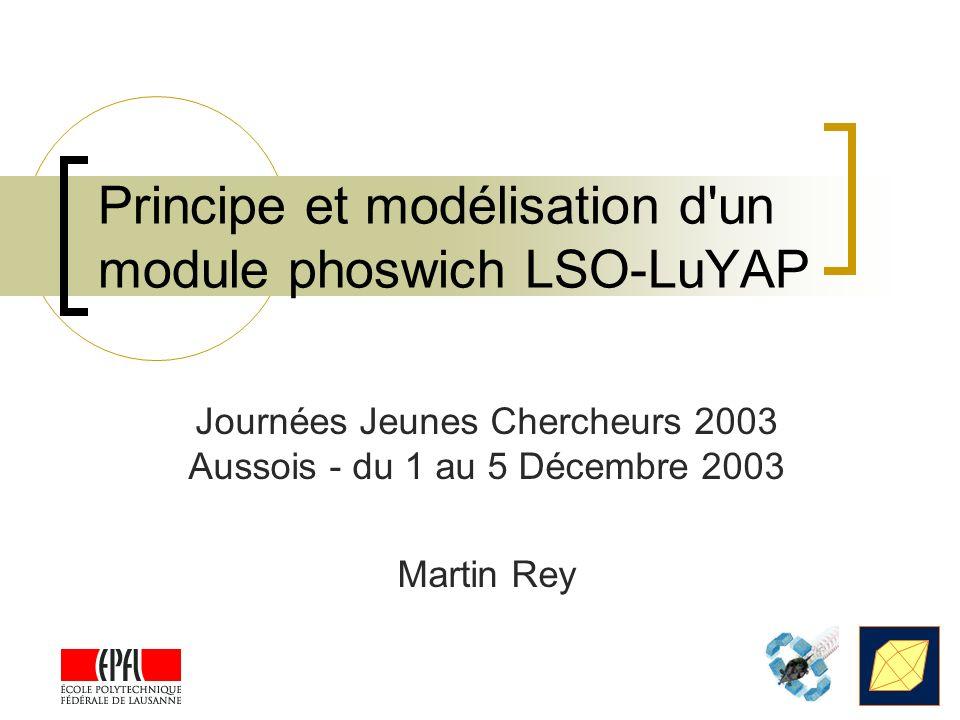 Principe et modélisation d'un module phoswich LSO-LuYAP Journées Jeunes Chercheurs 2003 Aussois - du 1 au 5 Décembre 2003 Martin Rey