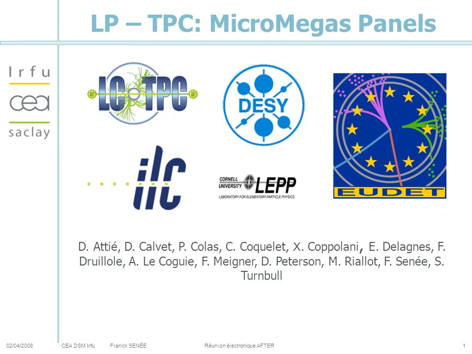 CEA DSM Irfu LP – TPC: MicroMegas Panels 02/04/2008Franck SENÉE Réunion électronique AFTER1 D. Attié, D. Calvet, P. Colas, C. Coquelet, X. Coppolani,