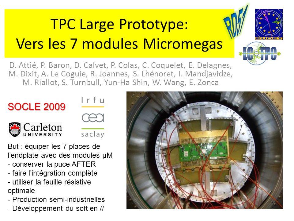 TPC Large Prototype: Vers les 7 modules Micromegas D. Attié, P. Baron, D. Calvet, P. Colas, C. Coquelet, E. Delagnes, M. Dixit, A. Le Coguie, R. Joann
