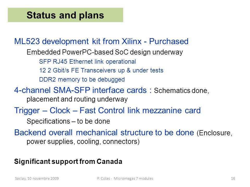 ML523 development kit from Xilinx - Purchased Embedded PowerPC-based SoC design underway SFP RJ45 Ethernet link operational 12 2 Gbit/s FE Transceiver