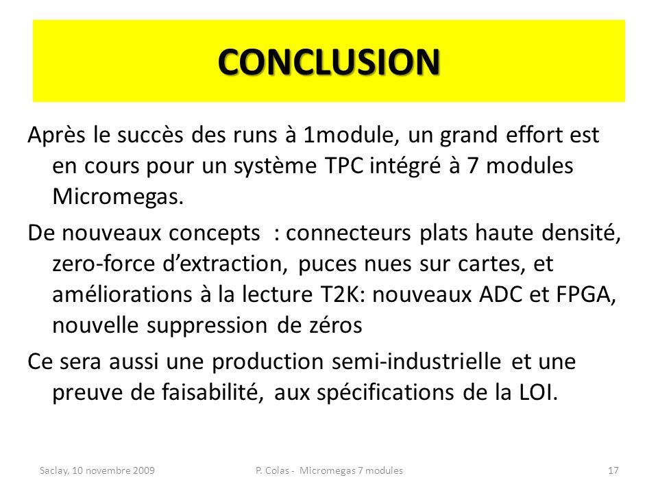 CONCLUSION Après le succès des runs à 1module, un grand effort est en cours pour un système TPC intégré à 7 modules Micromegas. De nouveaux concepts :