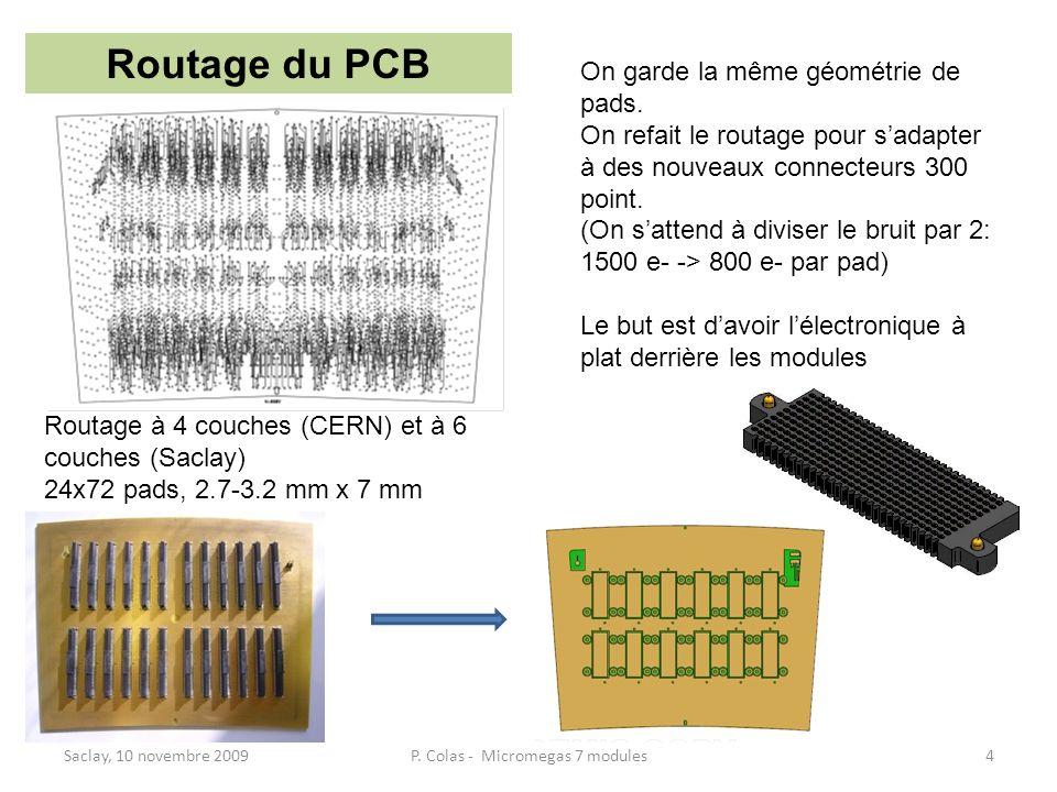 Saclay, 10 novembre 20094P. Colas - Micromegas 7 modules Routage du PCB Routage à 4 couches (CERN) et à 6 couches (Saclay) 24x72 pads, 2.7-3.2 mm x 7