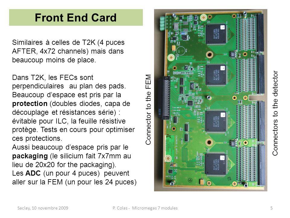 Saclay, 10 novembre 20095P. Colas - Micromegas 7 modules Front End Card Similaires à celles de T2K (4 puces AFTER, 4x72 channels) mais dans beaucoup m