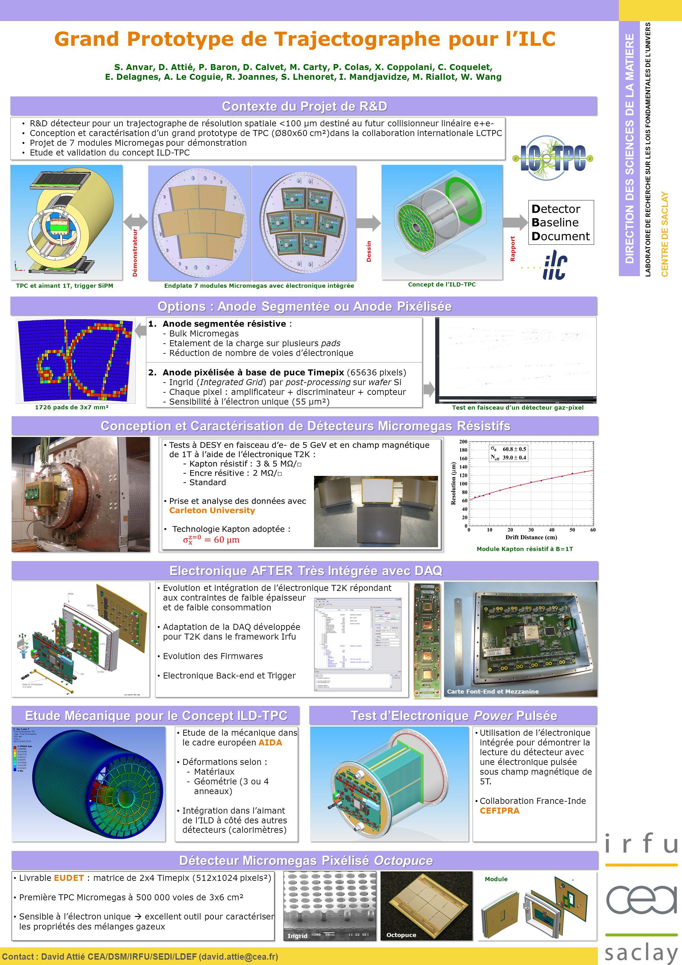 Etude de la mécanique dans le cadre européen AIDA Déformations selon : -Matériaux -Géométrie (3 ou 4 anneaux) Intégration dans laimant de lILD à côté des autres détecteurs (calorimètres) Etude de la mécanique dans le cadre européen AIDA Déformations selon : -Matériaux -Géométrie (3 ou 4 anneaux) Intégration dans laimant de lILD à côté des autres détecteurs (calorimètres) DIRECTION DES SCIENCES DE LA MATIERE LABORATOIRE DE RECHERCHE SUR LES LOIS FONDAMENTALES DE LUNIVERS CENTRE DE SACLAY Contact : David Attié CEA/DSM/IRFU/SEDI/LDEF (david.attie@cea.fr) Contexte du Projet de R&D Grand Prototype de Trajectographe pour lILC S.