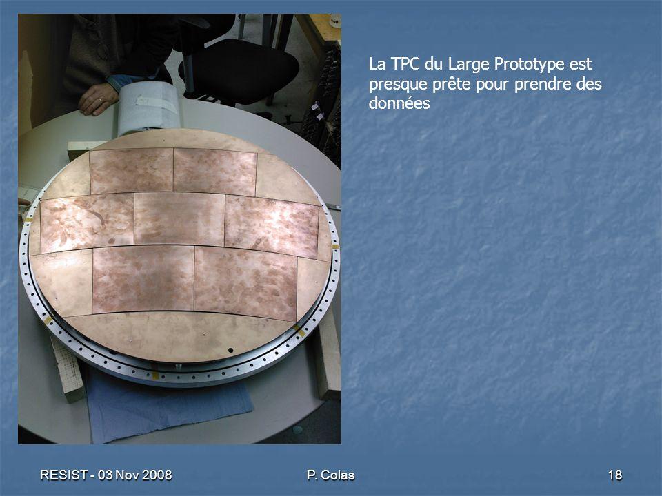 RESIST - 03 Nov 2008P. Colas18 La TPC du Large Prototype est presque prête pour prendre des données