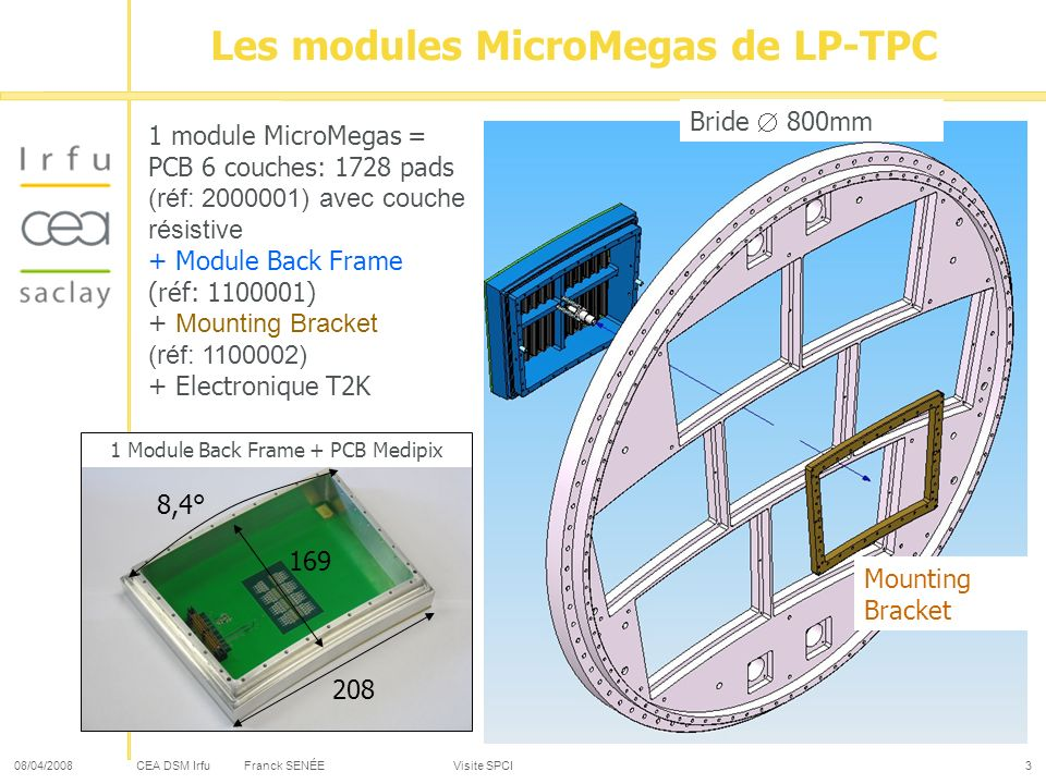 CEA DSM Irfu 08/04/2008Franck SENÉE Visite SPCI4 Micromegas Panel: PCB C1: Pads layer C6: Connectors layer Stacking C1/C2: Insulation layer The layers of insulation are Nelco 7000 (Polyimide:Glass Transition Temperature = 260°C): necessary for the resistive layer 24 lines of 72 pads: 1728 pads with 2 used for supplier the HV to the grid.