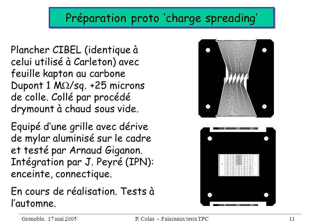 Grenoble, 17 mai 2005P. Colas - Faisceaux tests TPC11 Préparation proto charge spreading Plancher CIBEL (identique à celui utilisé à Carleton) avec fe