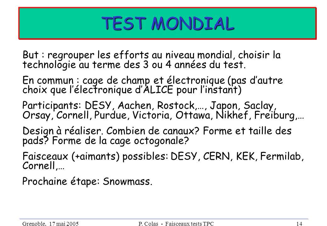 Grenoble, 17 mai 2005P. Colas - Faisceaux tests TPC14 TEST MONDIAL But : regrouper les efforts au niveau mondial, choisir la technologie au terme des