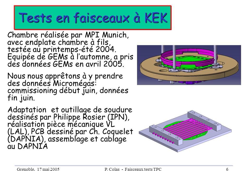 Grenoble, 17 mai 2005P. Colas - Faisceaux tests TPC6 Tests en faisceaux à KEK Chambre réalisée par MPI Munich, avec endplate chambre à fils, testée au