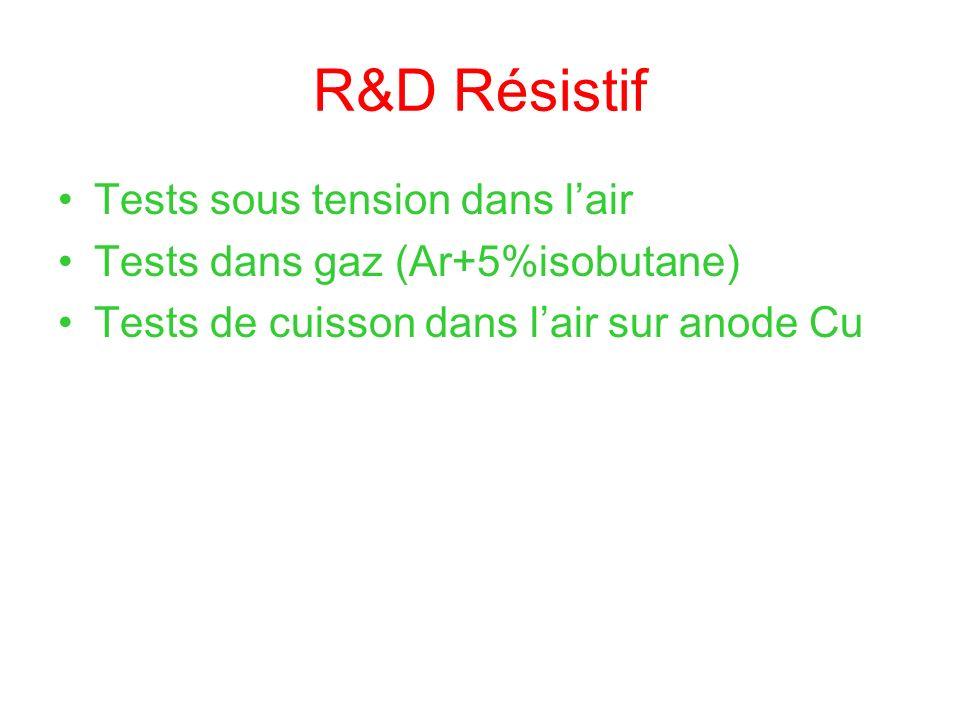 R&D Résistif Tests sous tension dans lair Tests dans gaz (Ar+5%isobutane) Tests de cuisson dans lair sur anode Cu