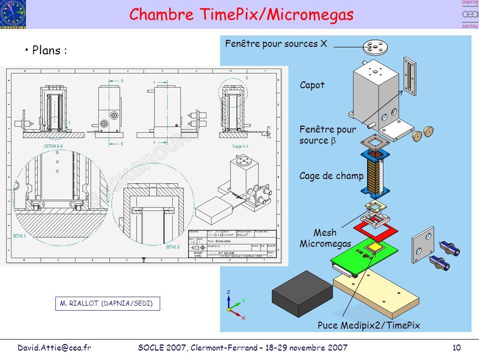 David.Attie@cea.frSOCLE 2007, Clermont-Ferrand – 18-29 novembre 200710 Chambre TimePix/Micromegas Cage de champ Capot Mesh Micromegas Puce Medipix2/Ti