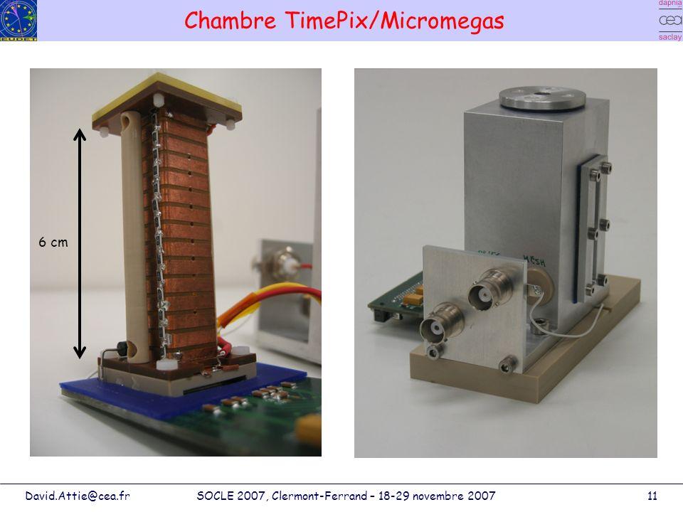 David.Attie@cea.frSOCLE 2007, Clermont-Ferrand – 18-29 novembre 200711 Chambre TimePix/Micromegas 6 cm