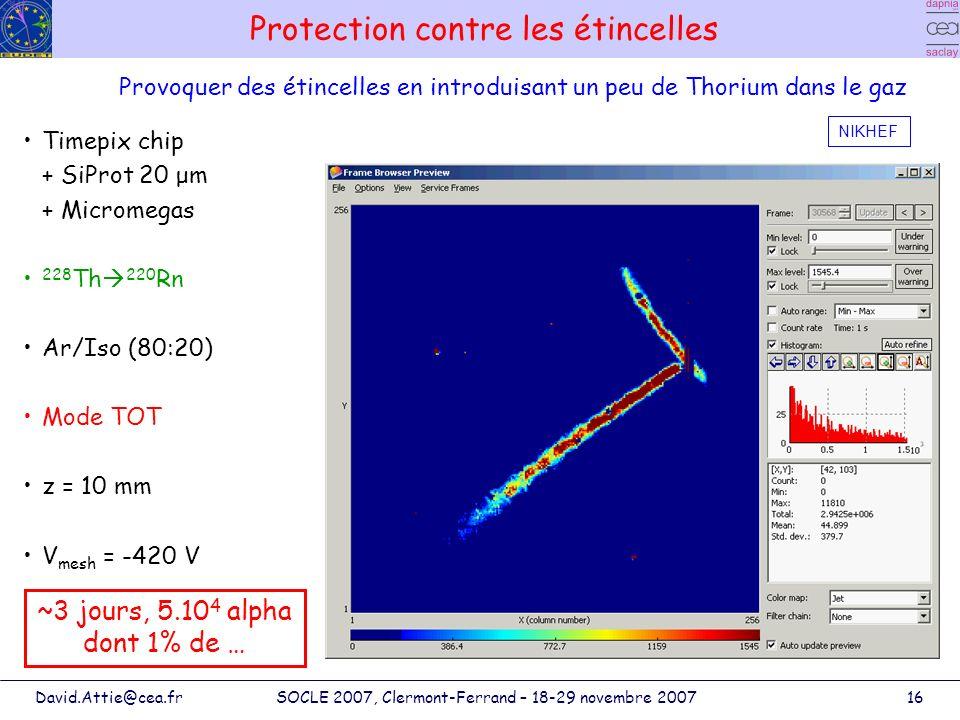 David.Attie@cea.frSOCLE 2007, Clermont-Ferrand – 18-29 novembre 200716 Protection contre les étincelles Timepix chip + SiProt 20 μm + Micromegas 228 T