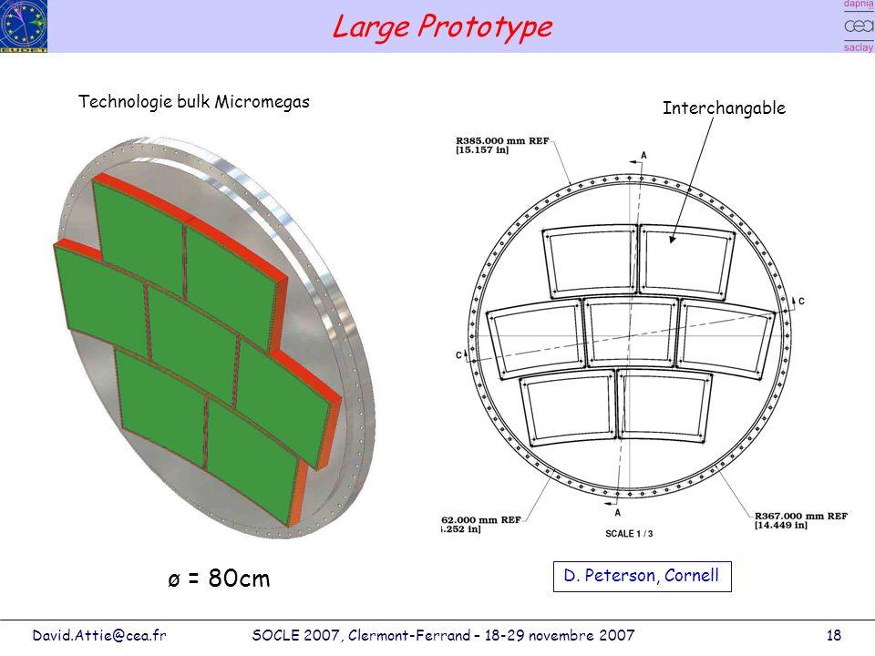 David.Attie@cea.frSOCLE 2007, Clermont-Ferrand – 18-29 novembre 200718 Large Prototype Interchangable Technologie bulk Micromegas ø = 80cm D. Peterson