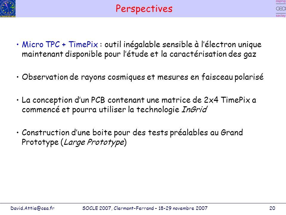 David.Attie@cea.frSOCLE 2007, Clermont-Ferrand – 18-29 novembre 200720 Perspectives Micro TPC + TimePix : outil inégalable sensible à lélectron unique