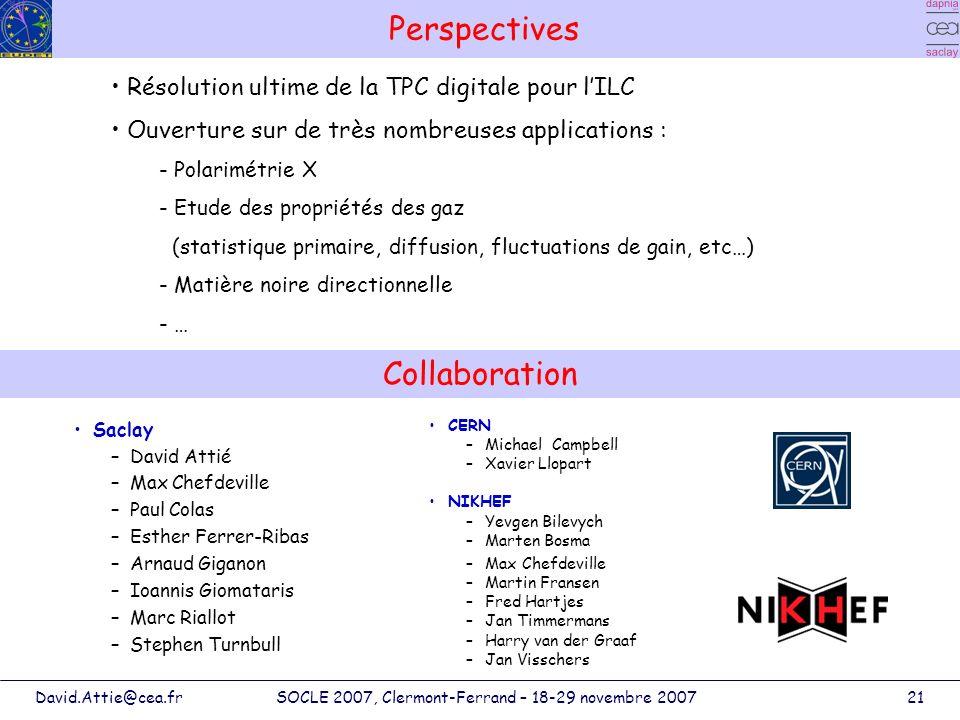 David.Attie@cea.frSOCLE 2007, Clermont-Ferrand – 18-29 novembre 200721 Perspectives Saclay –David Attié –Max Chefdeville –Paul Colas –Esther Ferrer-Ri