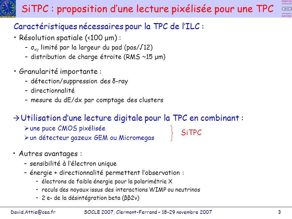 David.Attie@cea.frSOCLE 2007, Clermont-Ferrand – 18-29 novembre 20074 Principe de la TPC digitale + - + - Puce TimePix Particule ionisante Volume de gaz Système damplification (MPGD) Cathode ~50 µm 80 kV/cm Micromegas
