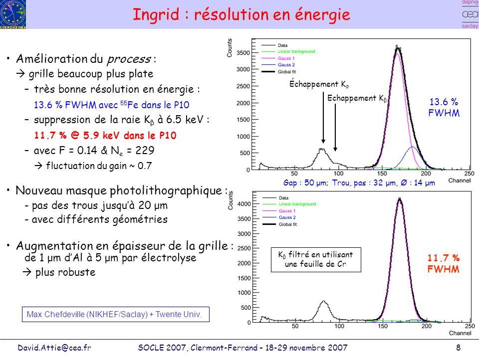 David.Attie@cea.frSOCLE 2007, Clermont-Ferrand – 18-29 novembre 20079 70 μm 45 μm 58 μm Ingrid : étude du retour des ions Dépendance du phénomène : –le gaz (Townsend, σ t ) –la géométrie de la grille (gap, pas et taille des trous, taille de lentonnoir et de lavalanche) 3 géométries différentes : –gap à 45, 58 et 70 μm –opérant à 325, 350 et 370 V –E a de 72, 60 et 53 kV/cm (G~200, 550 et 150) -coef.
