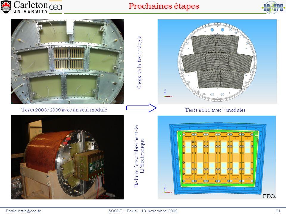 Prochaines étapes David.Attie@cea.fr21SOCLE – Paris – 10 novembre 2009 Tests 2008/2009 avec un seul module Tests 2010 avec 7 modules Reduire lencombre