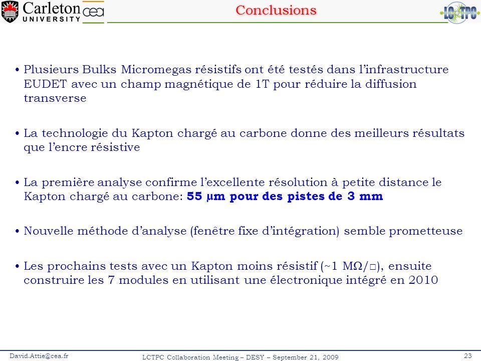 Conclusions Plusieurs Bulks Micromegas résistifs ont été testés dans linfrastructure EUDET avec un champ magnétique de 1T pour réduire la diffusion tr
