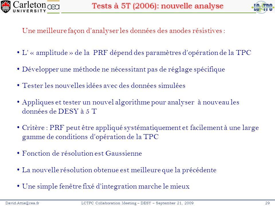 David.Attie@cea.fr29LCTPC Collaboration Meeting – DESY – September 21, 2009 Une meilleure façon danalyser les données des anodes résistives : L « ampl