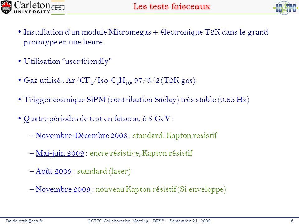 Détermination du t 0 David.Attie@cea.fr27SOCLE – Paris – 10 novembre 2009 Données cosmiques à 25 MHz de fréquence déchantillonnage bin en temps = 40 ns Longueur de la TPC = 56.7 cm en accord avec les mesures mecaniques 190 bin en temps