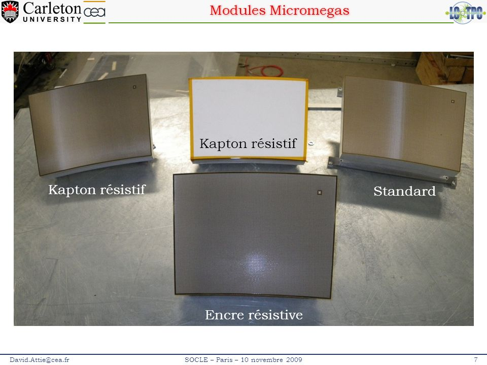 Surveillance des paramètres David.Attie@cea.fr28SOCLE – Paris – 10 novembre 2009 Eau (ppm) : Oxygène (ppm) : Juin 09Juillet 09Août 09Septembre 09 10 2 10 1 10 3 10 4 10 2 10 1 10 3 10 4 10 5 10 - 1 10 - 2 1 to 2 jours 45 L/h pour atteindre les valeurs nominales : -H 2 O: 140 ppm -O 2 : 30 ppm Laser tests +std MM Resistive MM Bonn-GEM +TimePix JGEM+TDC JGEM+ALTRO