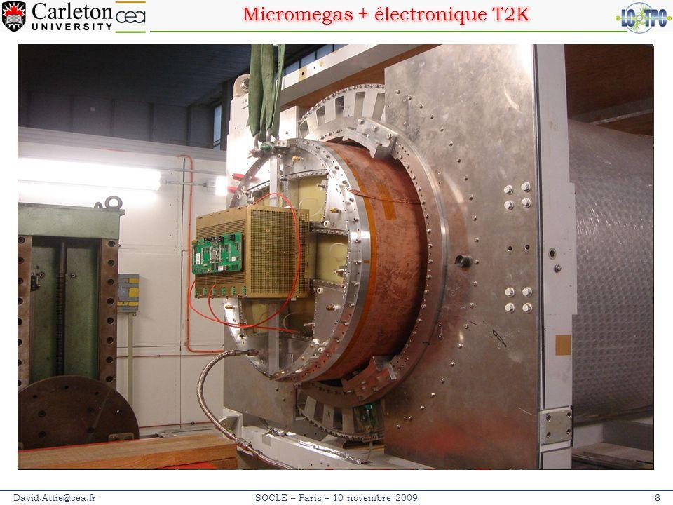 Micromegas + électronique T2K David.Attie@cea.fr9SOCLE – Paris – 10 novembre 2009 DétecteurCouche isolanteCouche résistive Résistivité (M Ω / ) Kapton résistif Verre époxy 75 µm Kapton chargé C 25 µm ~4-8 Encre résisitive Verre époxy 75 µm Encre (3 couches) ~50 µm ~1-2 PCB Prepreg Kapton résistf PCB Prepreg Encre résistive Kapton résistifEncre résistive Collage par lamination et chauffage (technique PCB)