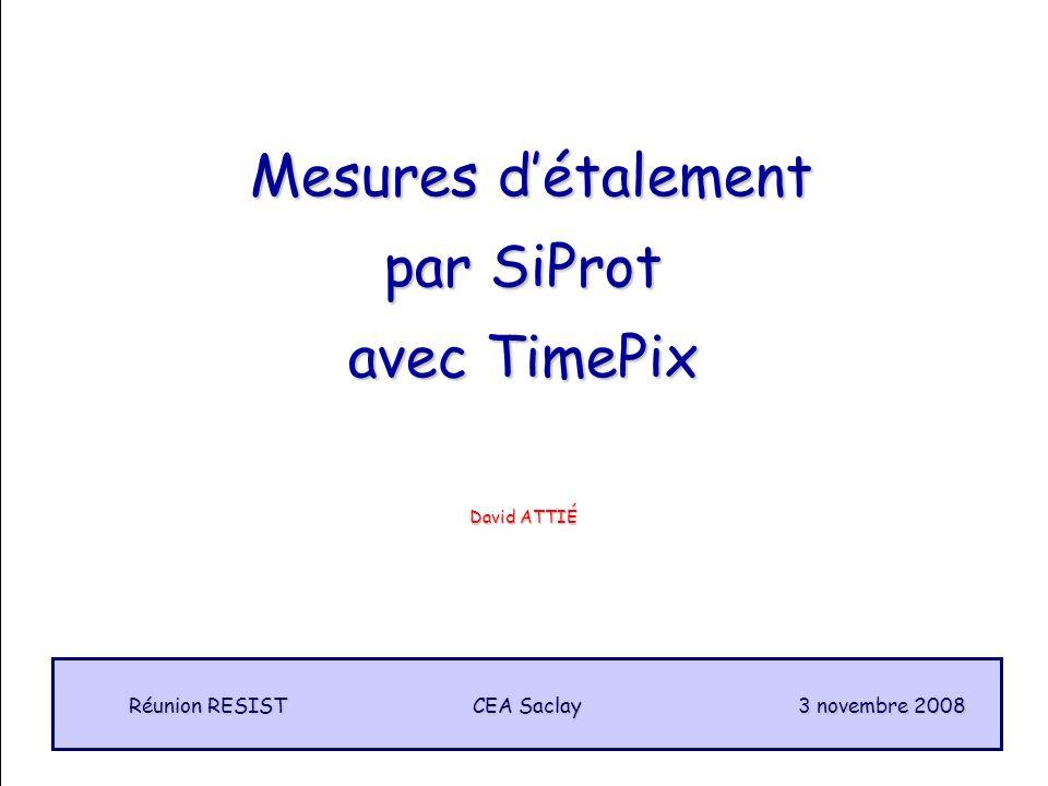 1 Mesures détalement Mesures détalement par SiProt avec TimePix CEA Saclay Réunion RESIST 3 novembre 2008 David ATTIÉ
