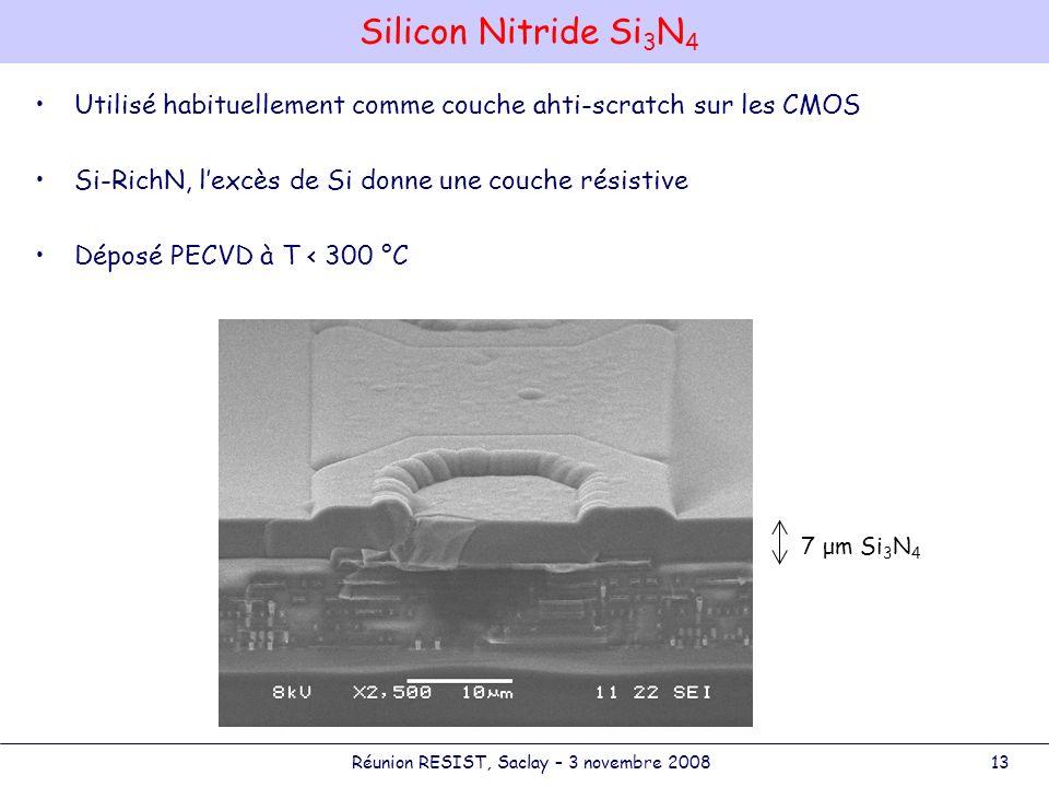 David.Attie@cea.frRéunion RESIST, Saclay – 3 novembre 200813 Silicon Nitride Si 3 N 4 Utilisé habituellement comme couche ahti-scratch sur les CMOS Si-RichN, lexcès de Si donne une couche résistive Déposé PECVD à T < 300 °C 7 μm Si 3 N 4