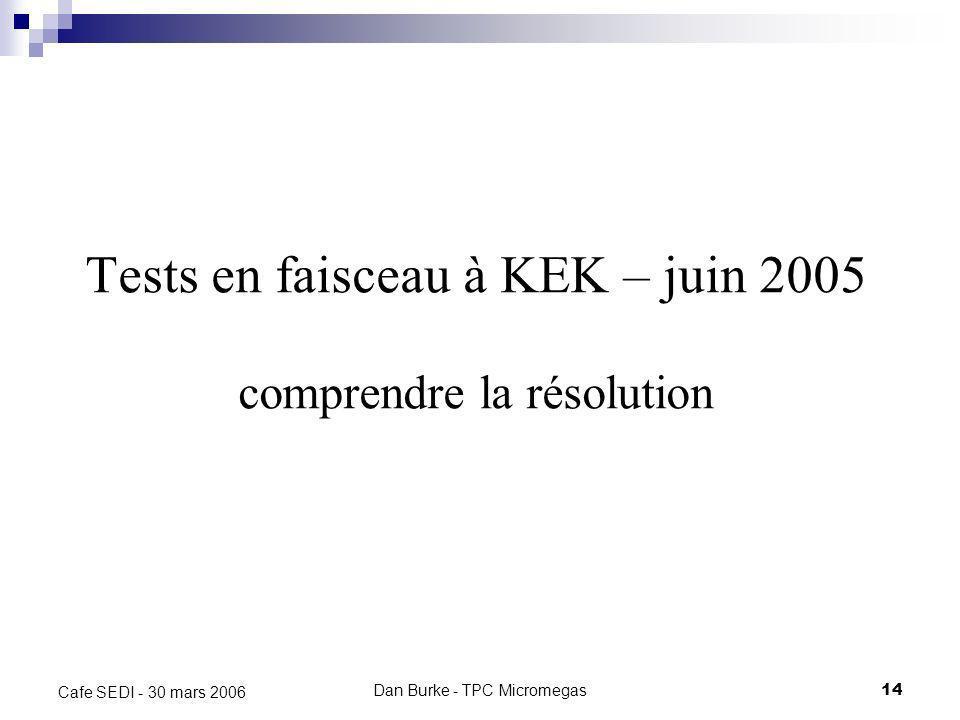 Dan Burke - TPC Micromegas13 Cafe SEDI - 30 mars 2006 Les tests à KEK 2004 – Chambre à fils avril 2005 – GEMs juin 2005 – Micromégas (P.Colas, A. Giga