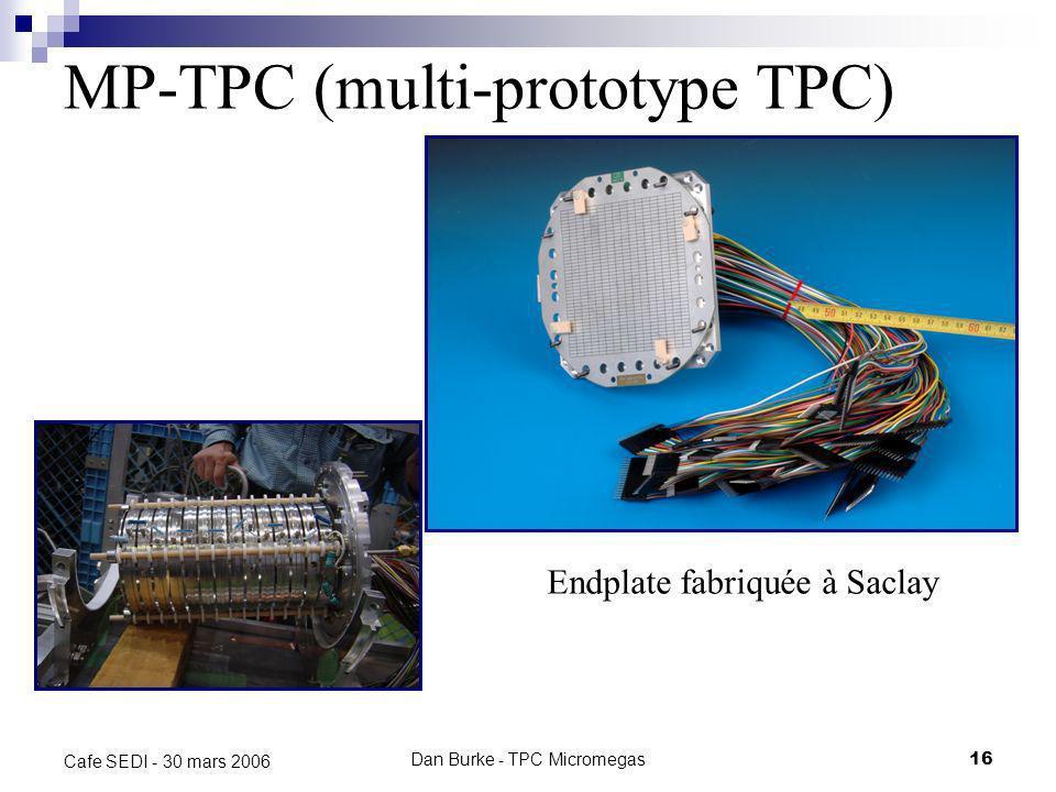 Dan Burke - TPC Micromegas15 Cafe SEDI - 30 mars 2006 MP-TPC 384 canaux Pads de 2,3 x 6,3 mm Tests avec ArIso et ArCF 4