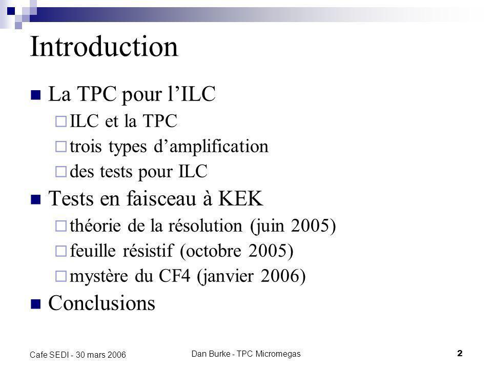 Dan Burke - TPC Micromegas2 Cafe SEDI - 30 mars 2006 Introduction La TPC pour lILC ILC et la TPC trois types damplification des tests pour ILC Tests en faisceau à KEK théorie de la résolution (juin 2005) feuille résistif (octobre 2005) mystère du CF4 (janvier 2006) Conclusions