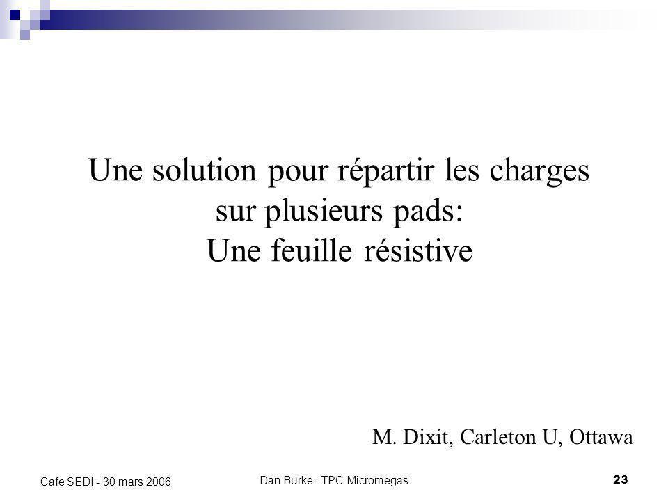 Dan Burke - TPC Micromegas22 Cafe SEDI - 30 mars 2006 Résolution – Données Les données sont en accord avec la théorie analytique et les simulations. C