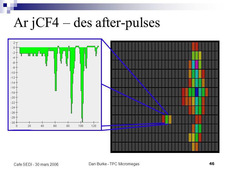 Dan Burke - TPC Micromegas45 Cafe SEDI - 30 mars 2006 Ar jCF 4 – des after-pulses Trace typique avec des after-pulses qui continuent jusquau bout du t