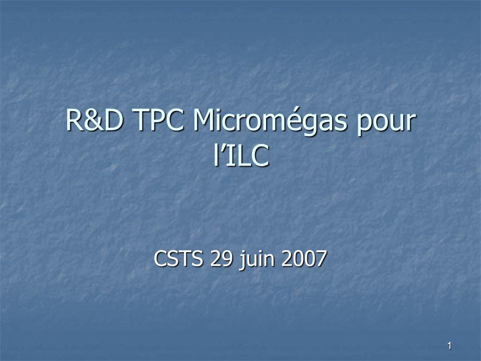 1 R&D TPC Micromégas pour lILC CSTS 29 juin 2007