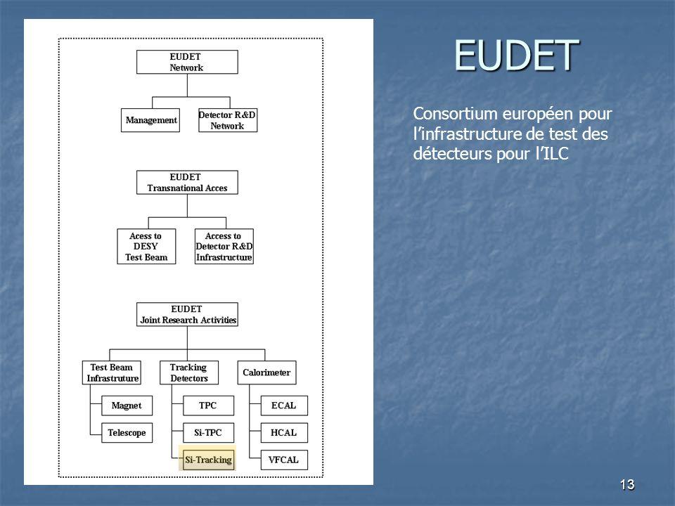 13 EUDET Consortium européen pour linfrastructure de test des détecteurs pour lILC