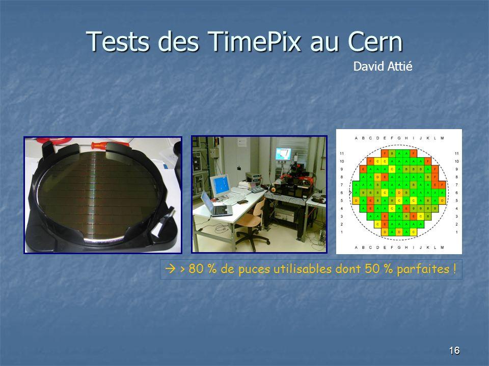 16 Tests des TimePix au Cern > 80 % de puces utilisables dont 50 % parfaites ! David Attié
