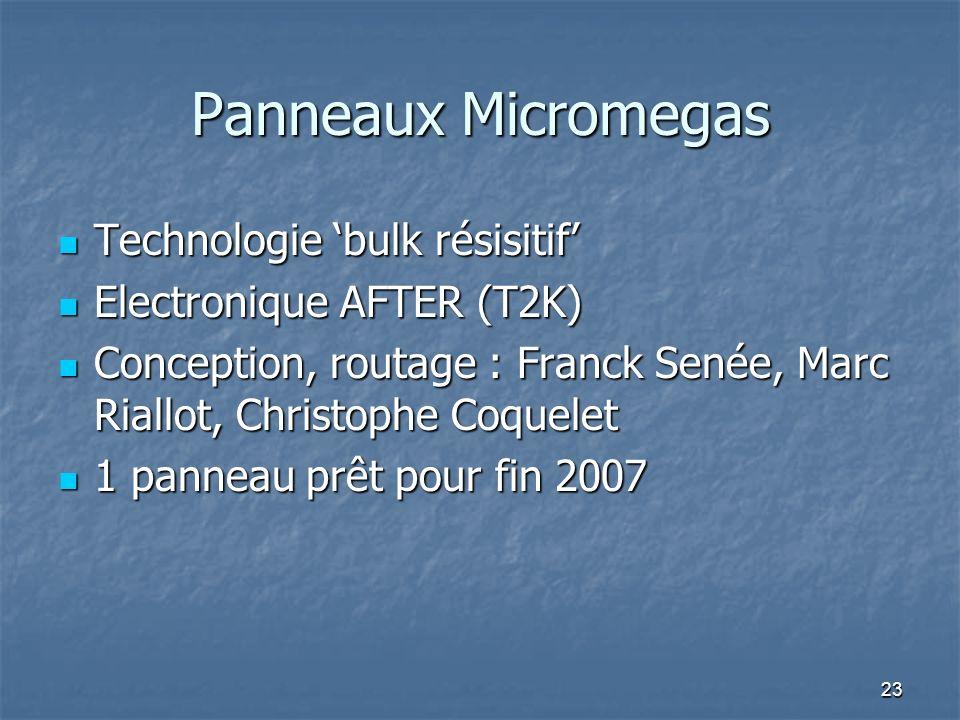 23 Panneaux Micromegas Technologie bulk résisitif Technologie bulk résisitif Electronique AFTER (T2K) Electronique AFTER (T2K) Conception, routage : F