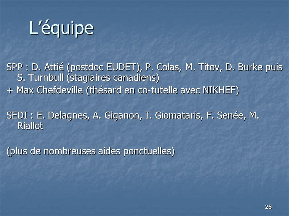 26 Léquipe SPP : D. Attié (postdoc EUDET), P. Colas, M. Titov, D. Burke puis S. Turnbull (stagiaires canadiens) + Max Chefdeville (thésard en co-tutel