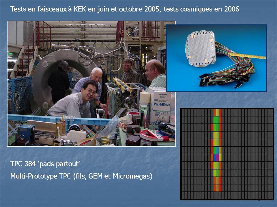 5 Tests en faisceaux à KEK en juin et octobre 2005, tests cosmiques en 2006 TPC 384 pads partout Multi-Prototype TPC (fils, GEM et Micromegas)