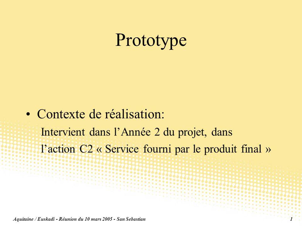 Aquitaine / Euskadi - Réunion du 10 mars 2005 - San Sebastian1 Prototype Contexte de réalisation: Intervient dans lAnnée 2 du projet, dans laction C2 « Service fourni par le produit final »