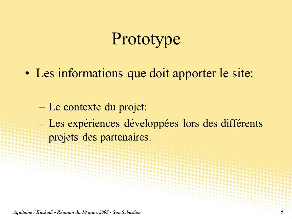 Aquitaine / Euskadi - Réunion du 10 mars 2005 - San Sebastian8 Prototype Les informations que doit apporter le site: –Le contexte du projet: –Les expériences développées lors des différents projets des partenaires.