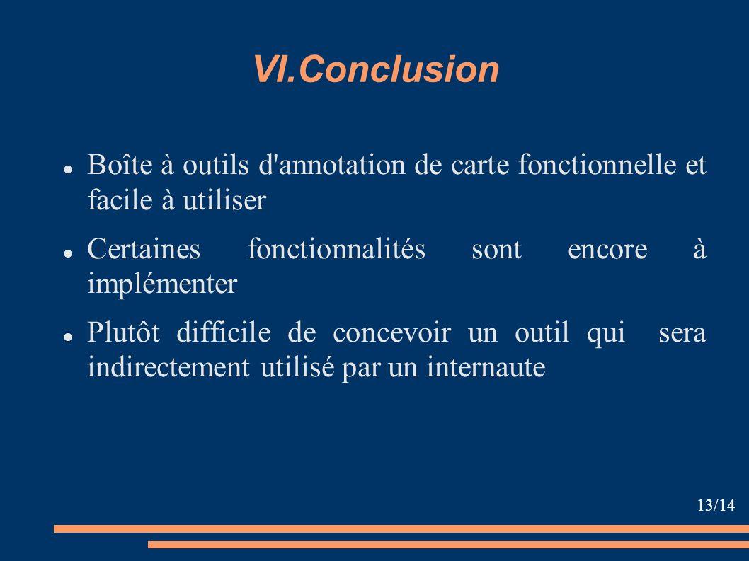 VI.Conclusion Boîte à outils d'annotation de carte fonctionnelle et facile à utiliser Certaines fonctionnalités sont encore à implémenter Plutôt diffi