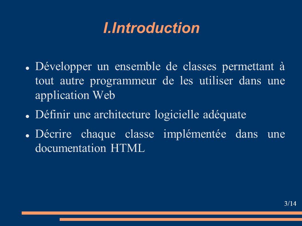 I.Introduction Développer un ensemble de classes permettant à tout autre programmeur de les utiliser dans une application Web Définir une architecture